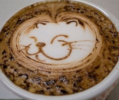 super smilling cat art coffee design