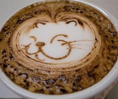 super smilling cat art coffee design
